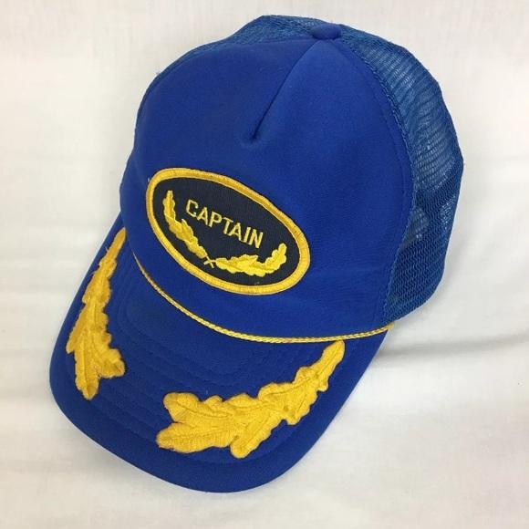 795d63155 Vintage Captain Hat Mesh Trucker Snapback